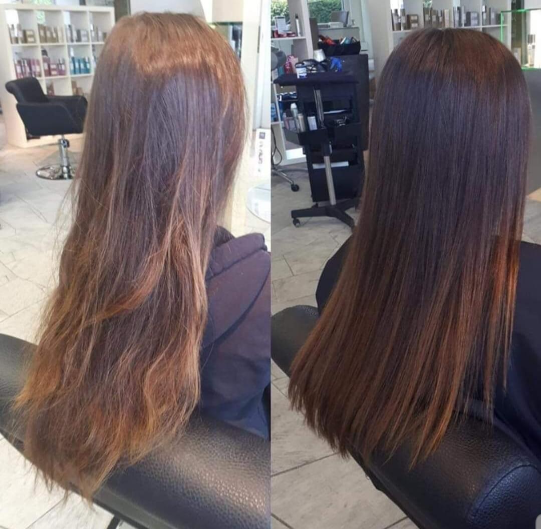 Haare vor und nach einer Keratinbehandlung