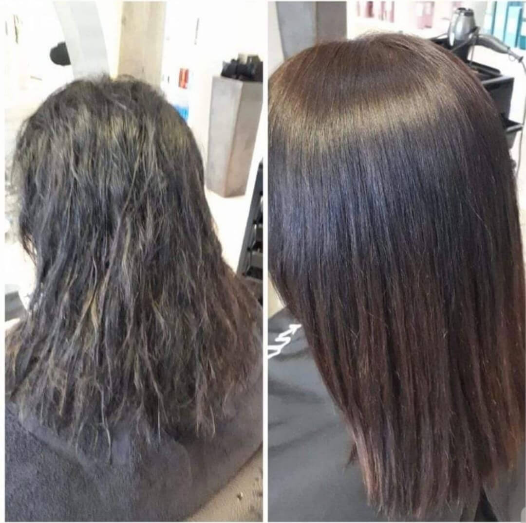 Vor- und Nachhereffekt einer Keratinbehandlung für die Haare