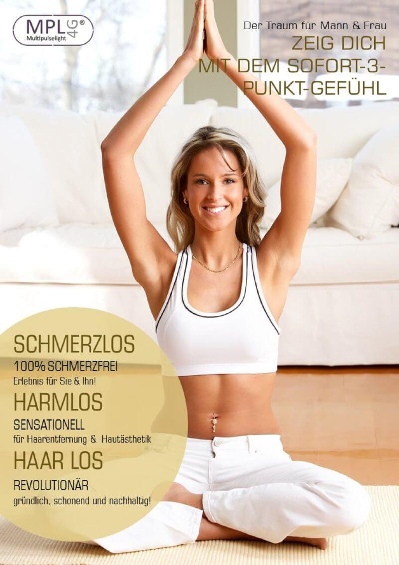 Werbeplakat für Multipulselight-Produkte zur dauerhaften Haarentfernung